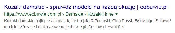meta description w google eobuwie